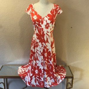 Red + White Floral London Times Dress